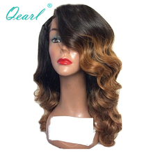 Two Tone 13x4 Lace Front Wig Peruvian Wavy Remy Hair 150% Density Ombre Color Side Part Human for Black Women Qearl
