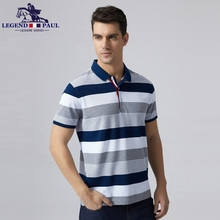 Legend Paul Brand 2017 fashion men's New High Quality Cotton Men Polo stripe business Shits Short Sleeve tee Fit Casual Leisure