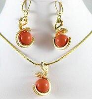 Spedizione gratuita>>> gioielli 12mm blue orange pietra rosa corallo pietra collana del pendente set AAA stile 100% pietra Naturale Noble Belle j