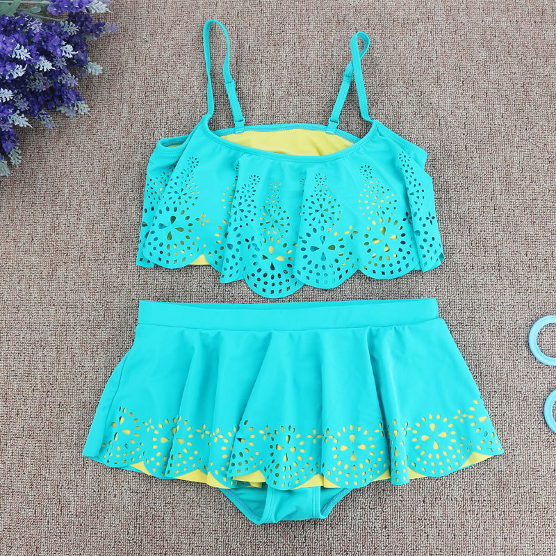 Baby girl Pierced solid swimwear princess blue bikini set bathing suit swimsuit summer style kids clothes young lady bikinis pierced