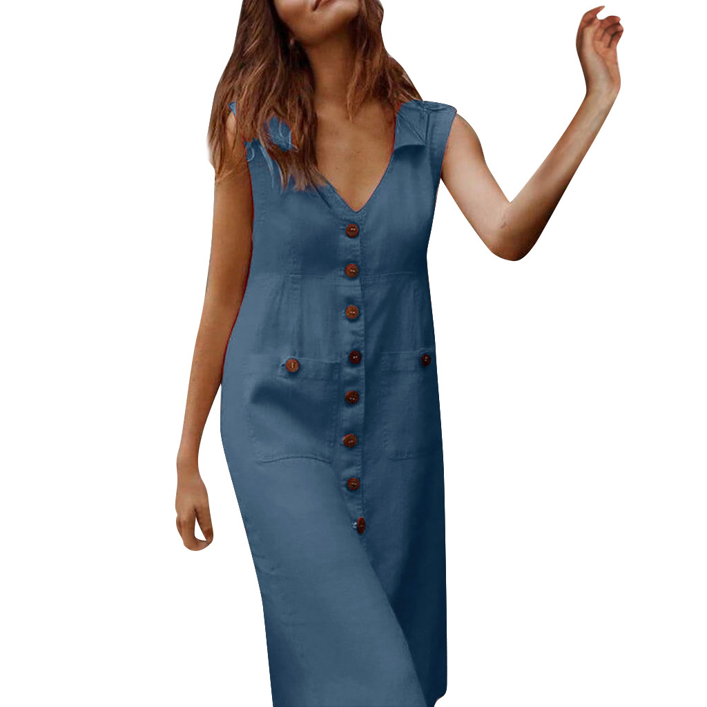 JAYCOSIN clothes 2020 dress Women Summer Dress Casual Solid With Button Sleeveless Mid Polyester Dress