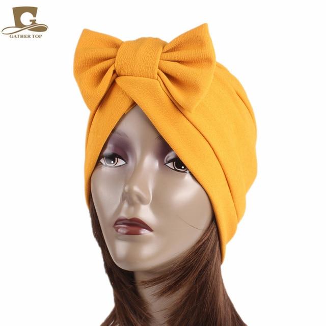 5a9a9a94885ae 10 pcs lot women Big Bow Turban Women s Hats Hair Accessories fashion Beanie  Scarf Turban Head Wrap chemo Cap Women Bowknot Hat