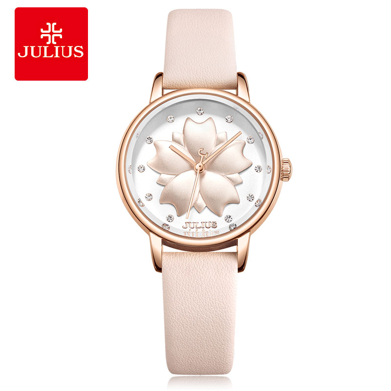 JULIUS Watch 3D Flower Dial Design 2018 New Arrival Women's Dress Hour Clock 30M Waterproof Stainless Steel Back Relojes JA-1000