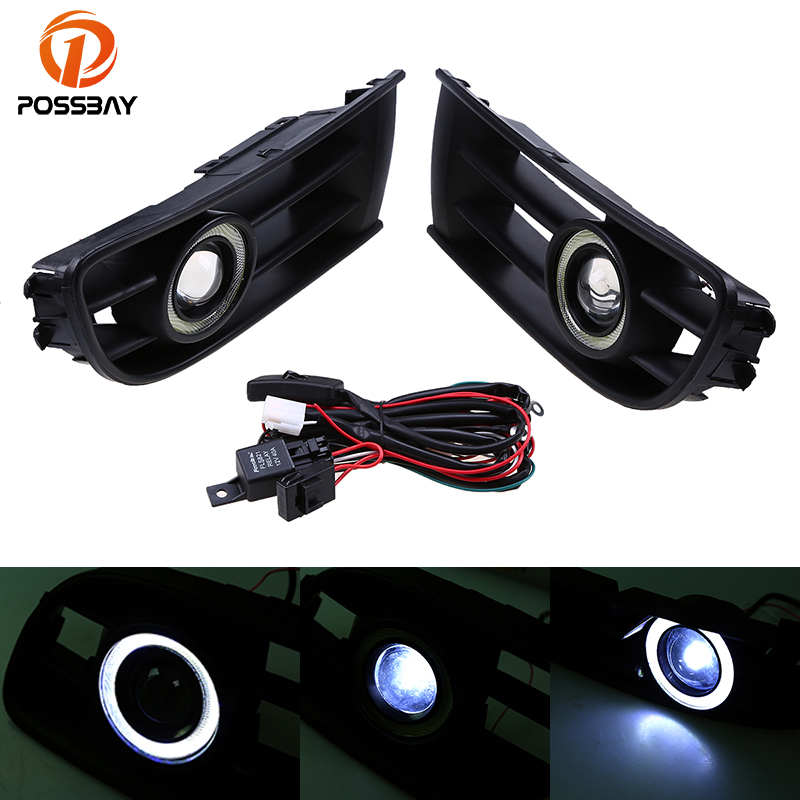 POSSBAY Angel Eyes Fog Light Assembly Car Front Lower Grille Foglamps for VW Polo/Derby/Vento-IND 2002 2003 2004 2005 right side for vw polo vento derby 2014 2015 2016 2017 front halogen fog light fog lamp assembly two holes