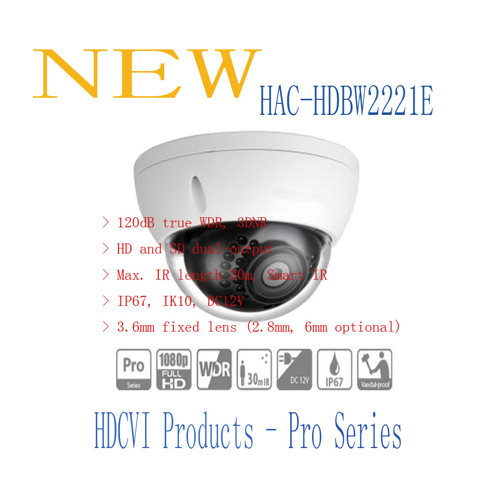 Free Shipping DAHUA 2.1MP 1080P IR Vandalproof&Waterproof HDCVI Dome Camera IP67 IK10 without Logo HAC-HDBW2221E dahua waterproof power box without logo pfa140