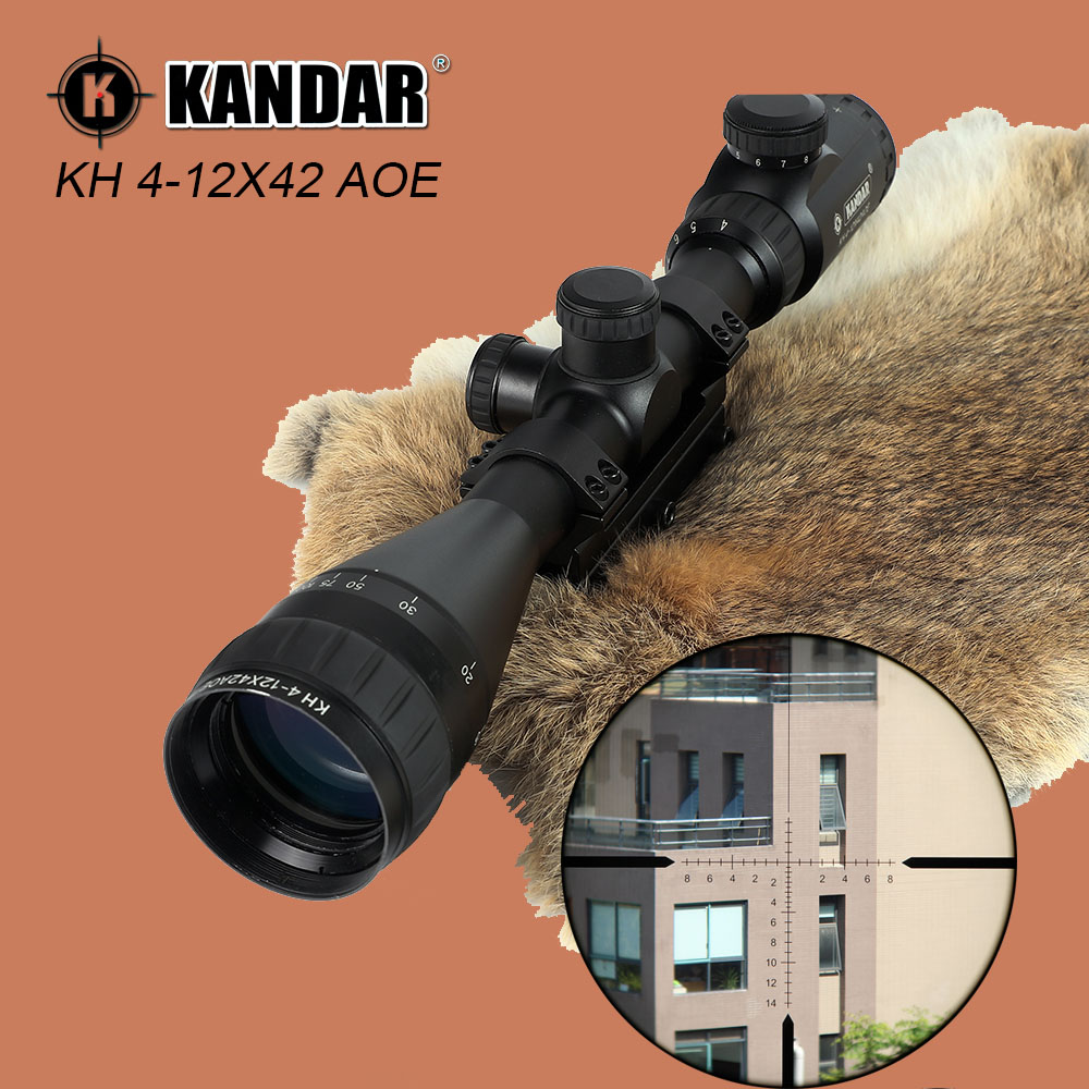 KANDAR KH 4-12X42 AOE Hunting Riflescope Full Size Red Dot Illmination Glass Etched Reticle Tactical Optics Sights Rifle Scope 100% original professional powerful kandar 1 4x24e front glass partition optical sights rifle scope with free mounts