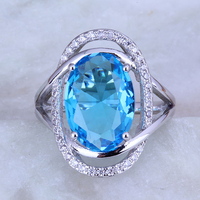 Love Monologue Pretty Blue Sky Crystal & Cubic Zirconia Oval Silver - Κοσμήματα μόδας