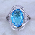 Pretty Blue Sky imitation Topaz & Cubic Zirconia Oval 925 Stamp Silver Plated Ring for Womens Size 6 7 8 9 10 J0486