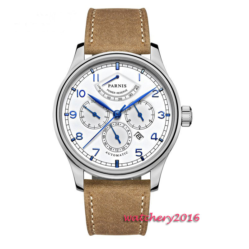 2017 Newest Hot 42mm parnis white dial power reserve Blue marks date window miyota automatic mechanical Mens Automatic Watch цена