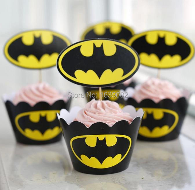 New Arrival Batman Paper Cupcake Wrappers U0026 Toppers Picks Baby Shower  Birthday Party Favor Free Shipping