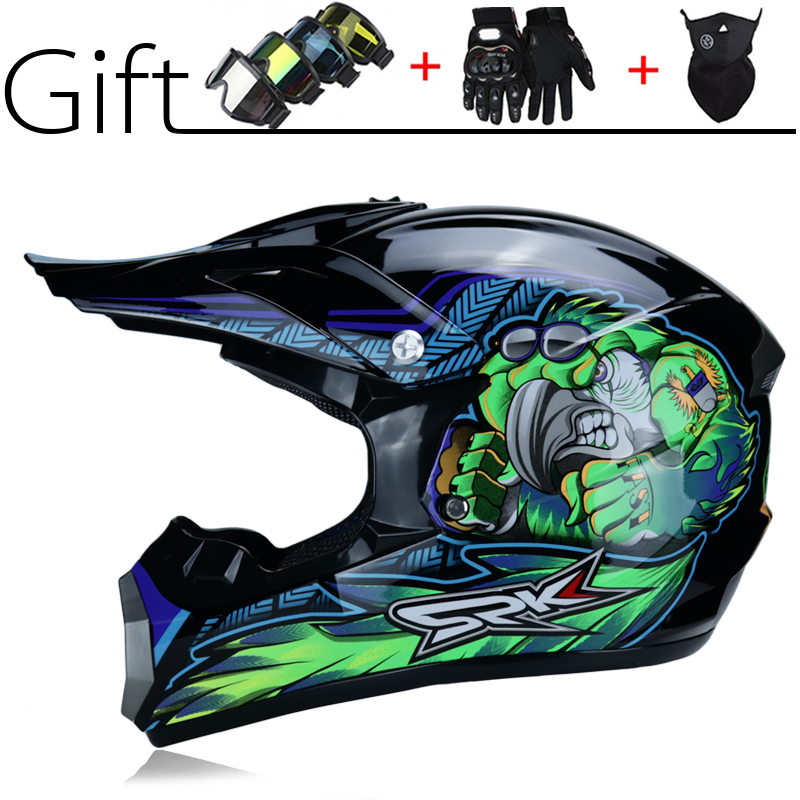 Yellow Stripe Off-road Motorcycle Downhill Enduro Helmet Sports set with Goggles Gloves Mask Hook Up Helmet for Mountain Motorbike Cross ATV MTB QYTK/® Full Face Motocross Helmet Adult