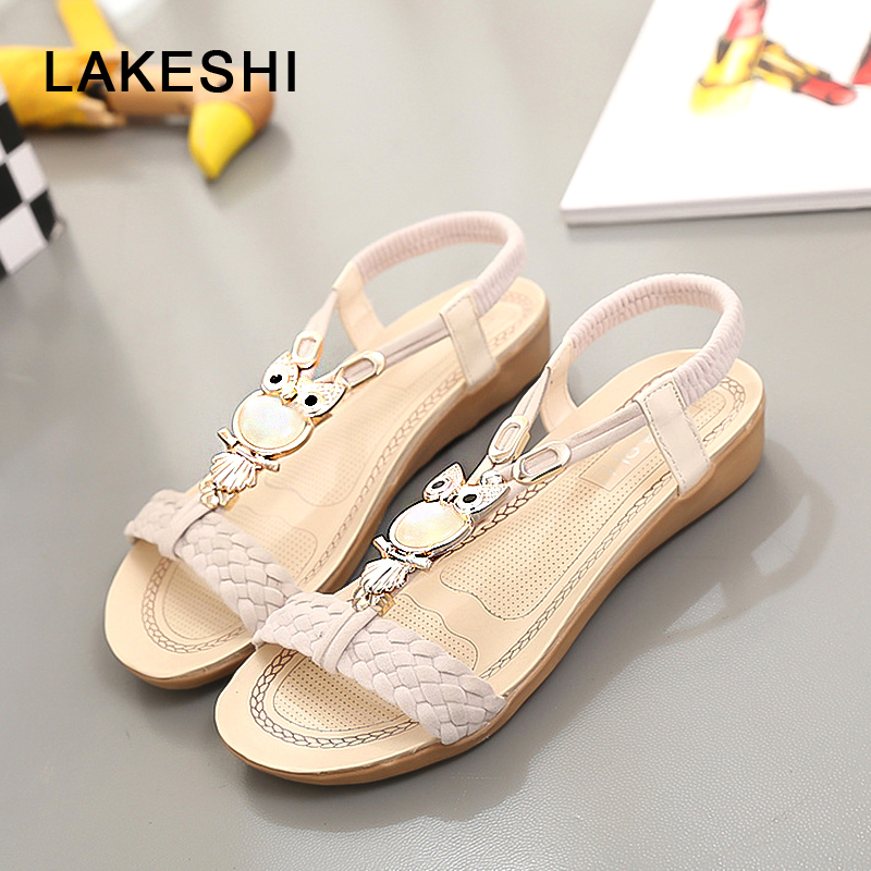 Women Sandals Summer Beach Shoes Fashion Flat Sandals Owl Slippers Casual Women Shoes Classic Bohemia Ladies Sandals