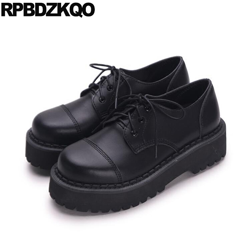Creepers Platform Shoes Thick Sole Slip Resistant Elevator Oxfords Lace Up Round Toe Women Flats Muffin Black Drop Shipping nayiduyun women genuine leather wedge high heel pumps platform creepers round toe slip on casual shoes boots wedge sneakers