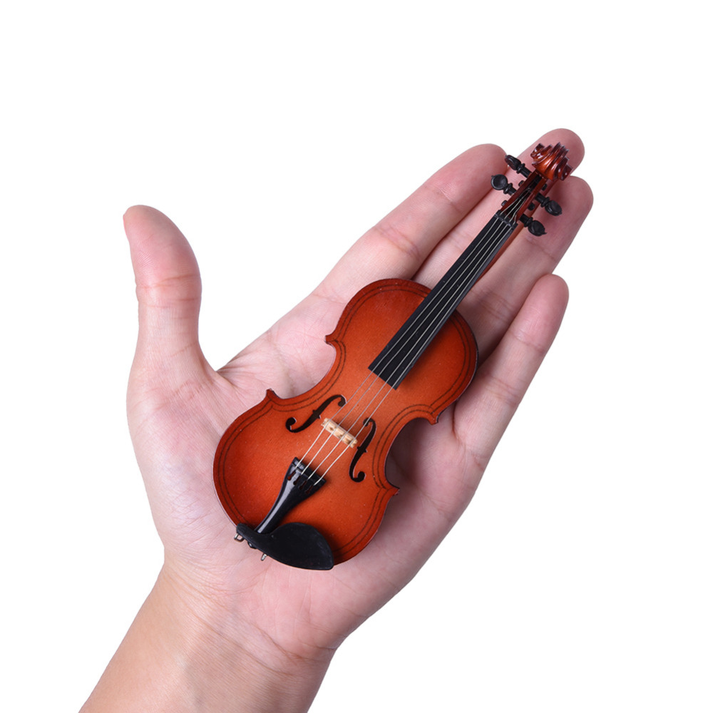 Mini Violin With Support Miniature Wooden Musical Instruments Collection Decorative Ornaments Model Decoration Gifts