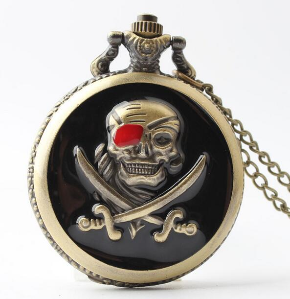 Vintage Pirates Skull In One Piece Steampunk Pocket Watch 20pca/lot GIFT
