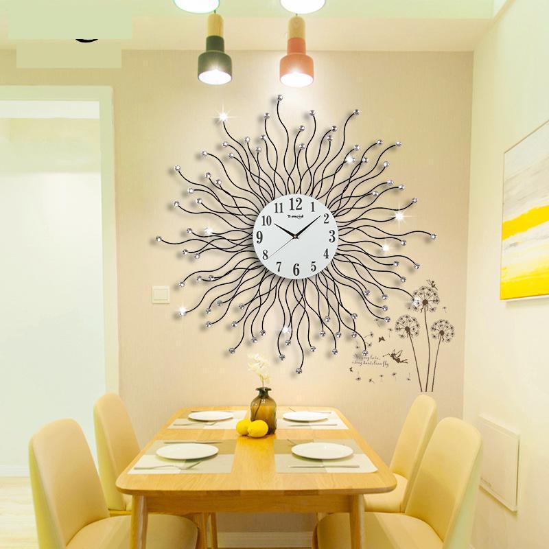 Horloge murale ronde en métal grande horloge murale suspendue numérique grandes horloges murales décoratives décor à la maison horloge silencieuse numérique