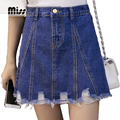 MISS Women Denim Jean Skirt Hole Mini Saias High Waisted A line American Apparel Cotton Plus Size Skirts Summer 2XL T5B30