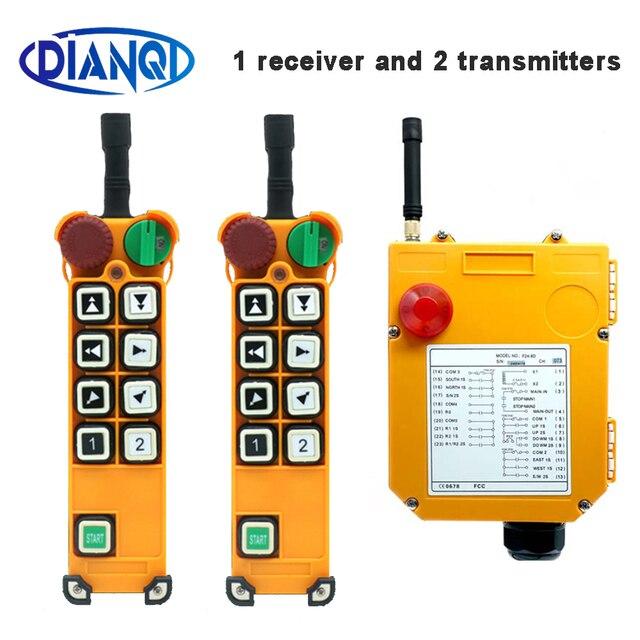 Duplo/único guindaste da velocidade F24 8D/s que conduz o guindaste industrial de controle remoto sem fio industrial 1 receptor 2 transmissor 220v12v24v