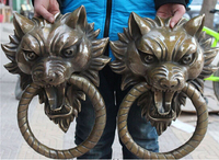 17Chinese Bronze Guardian Foo Fu Dog Lion Head Door Gate Knocker Statue Pair decoration bronze factory outlets