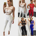 2016 New Women Ladies Clubwear Lace Hollow Out Playsuit Bodycon Party Jumpsuit&Romper Trousers