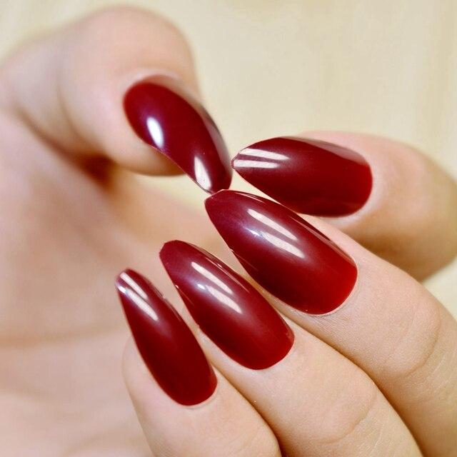 Shiny Full Wrap Fake Nails Red Wine Cool STILETTO Acrylic Nail Tips ...