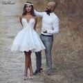 Sexy Beach Короткие Свадебные Платья 2016 Милая Шеи Аппликации Атласное Одеяние де mariée Невесты Платья