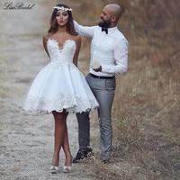Sexy Beach Short Wedding Dresses 2016 Sweetheart Neck Appliques Satin Robe de mariee Bride Dresses