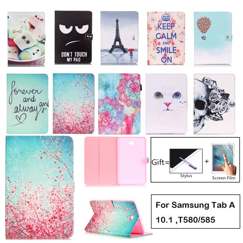 Fashion Cartoon Case For Samsung <font><b>Galaxy</b></font> <font><b>Tab</b></font> A a6 10.1 2016 <font><b>T580</b></font> T585 <font><b>SM</b></font>-T585 Case Cover Tablet Smart Stand TPU+PU Leather Shell image