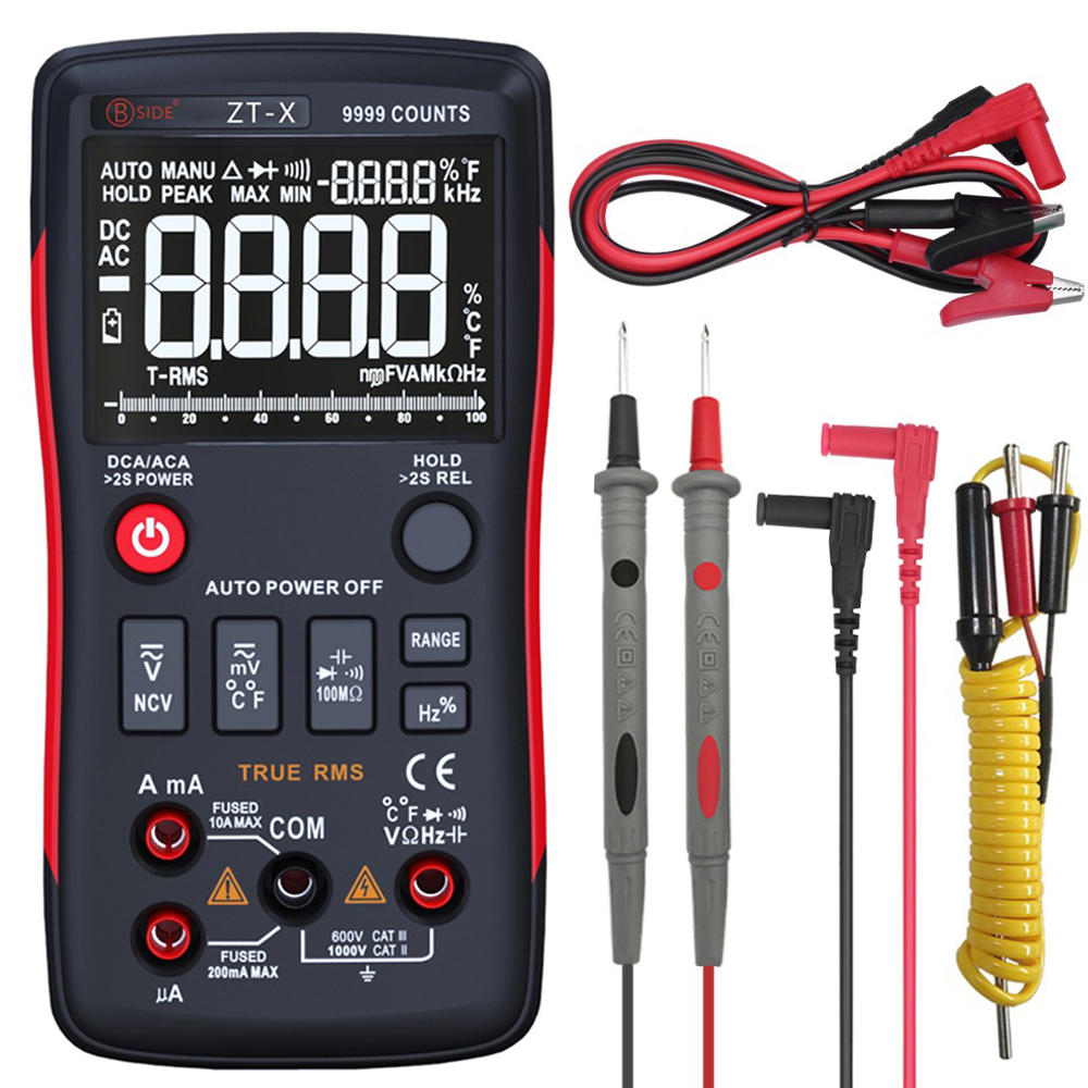 BSIDE ZT-X RMS verdadeiro Multímetro Digital 9999 Counts 3-Line Display Triplo Temperatura ohm Tester Medidor Voltímetro Amperímetro RM409B