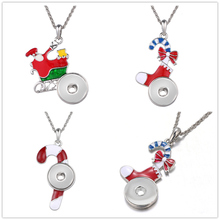 5pcs/lot DIY Pendant Snap Necklace Jewelry With Christmas Series Flowers Moon Water Drops Heart Shaped Fashion Accessory