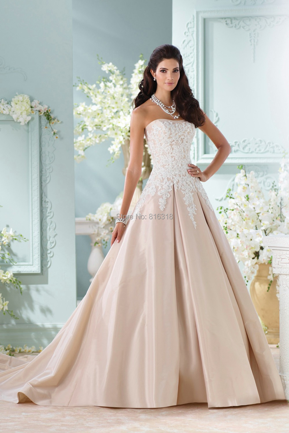 Champagne Satin Plus Size Ball Gown Wedding Dresses Applique Lace ...