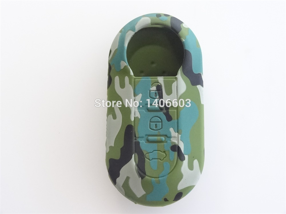 AUTEWODE Camouflage color Silicone car key cover case fits for Fiat 500 key Cover Blank Fob shell Auto parts car accessories