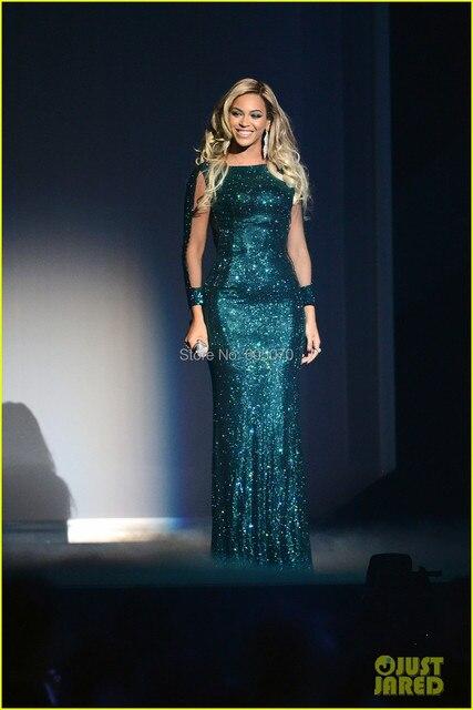 2015 Beyonce Brit Awards lentejuelas vestido verde Celebrity Vestidos de noche de baile vestido con mangas largas y lentejuelas