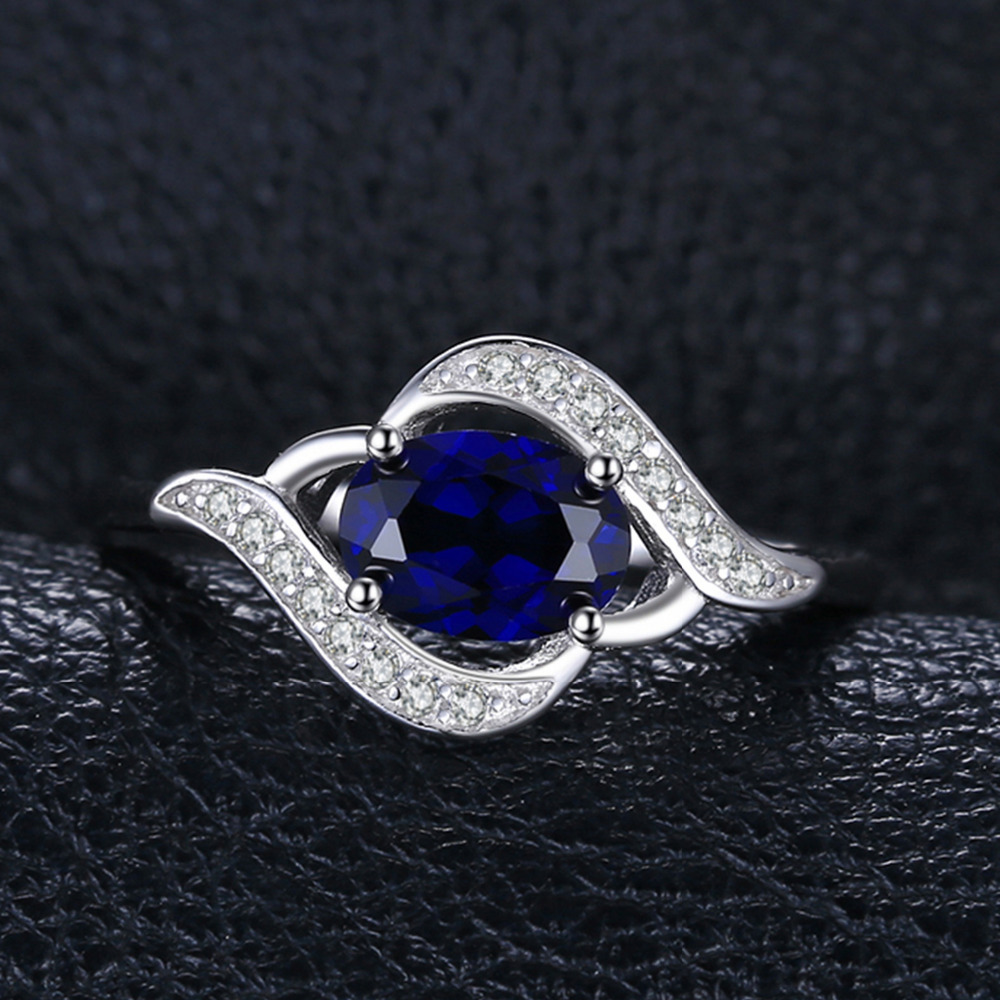 1.1ct Created Blue Sapphire Statement Ring 925 Sterling Silver Jewelry Ring Sets New Gift  For Women As Gifts 1
