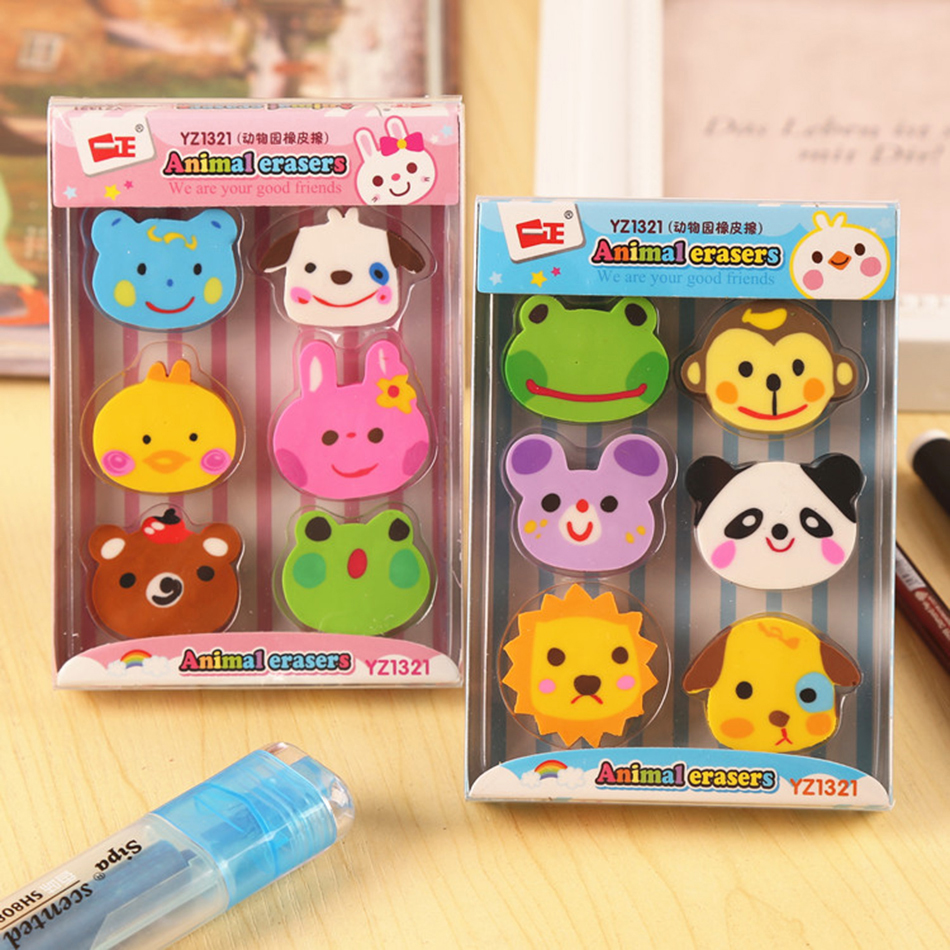 6Pcs/Pack Kawaii Cute Zoo Animals Rubber Erasers Drawing Writing Correction School Office Supply Kid Student Stationery E2038