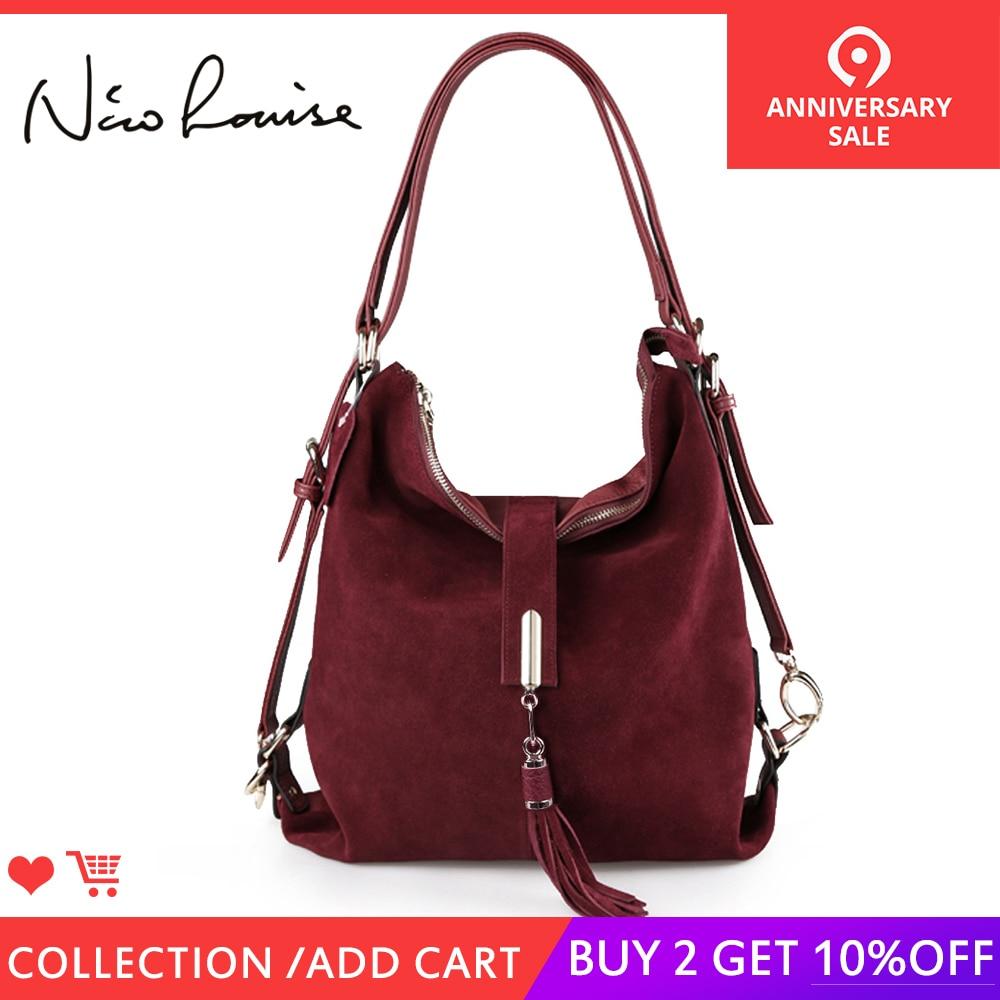 Nico Louise женская натуральная спилок замша кожа сумка на плечо Женская Досуг нубук Повседневная сумка мессенджер Хобо топ-ручка сумки