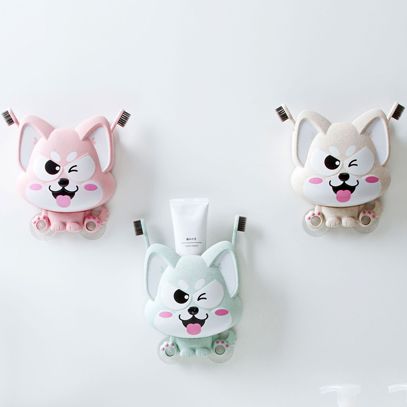 Cute Strong sucker toothbrush holder toothpaste storage box Container Makeup organizer bathroom organizer  household items|Storage Shelves & Racks|Home & Garden - title=