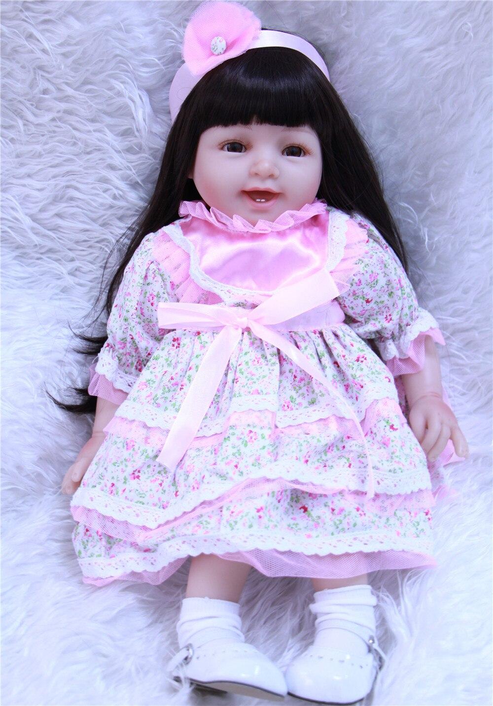 55 cm/22 pouces Reborn Silicone vinyle réaliste adorable longhair princesse nouveau-né fille tout-petits noël anniversaire cadeau poupées