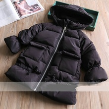Fashion Warm Girl Winter Clothes Solid Color Jacket Children Clothing Windbreaker Jackets Casual Hooded Girls Thick Warm Coat