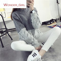 2016 New Arrival Women's Autumn Clothing Long Sleeve Pullover  Sweater Contrast Color O-Neck Female Knitting Tops