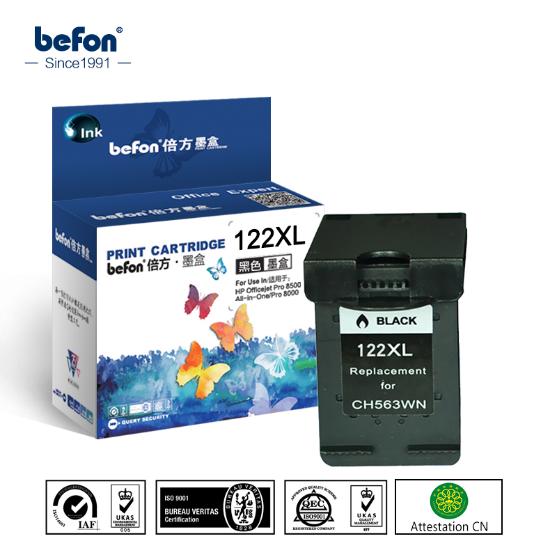 Reemplazo de cartucho Compatible con befon 122XL para Cartucho de tinta negra HP 122 para Deskjet 1050 1050A 1000 2000 2050 1510 3050 3000