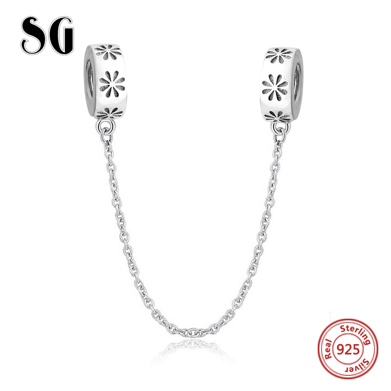 SG flower chain diy Sterling Silver 925 Beads Fit Original pandora Charm Bracelets Pendant for jewelry making gifts 2018 strollgirl car keys 100% sterling silver charm beads fit pandora charms silver 925 original bracelet pendant diy jewelry making