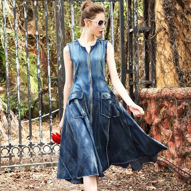 d42c8a306fb55 US $107.9  Summer Dress 2017 Womens Denim Dress High Quality Runway Vintage  Elegant Beach Women Party Dress Boho Denim Sundress Dresses-in Dresses ...