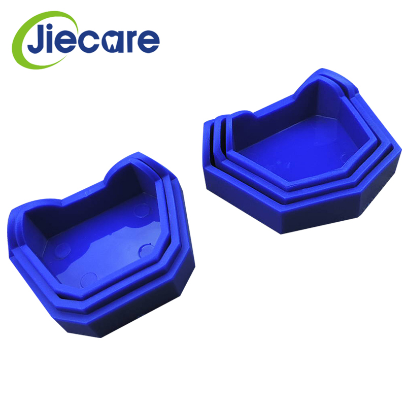 6PCS Dentist Oral Care Tools Dental Plaster Model Base Former Molds Tray Silicone Rubber Blue Tray For Dental Lab 3 Sizes(L+M+S)