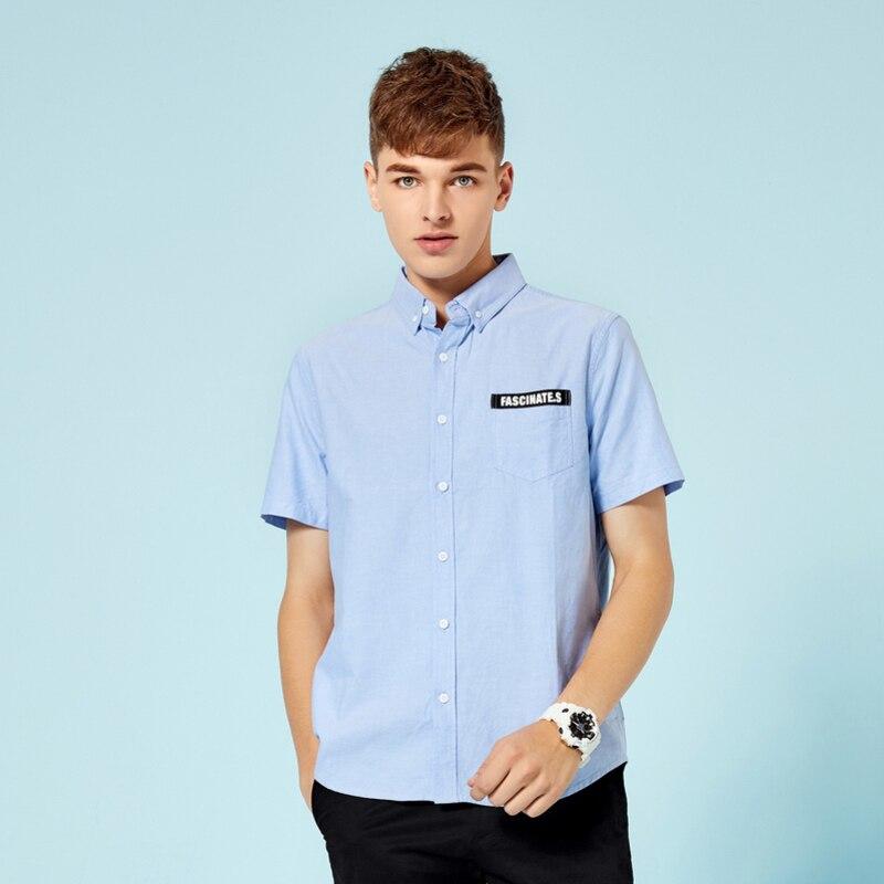 SEMIR Men Shirts Europe Size New Arrivals Slim Fit Male Shirt Solid Short Sleeve British Style Cotton Men's Shirt