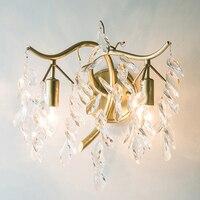 Lâmpada de Parede país Simples Sala de estar Quarto Luz de Parede Lâmpada Criativa Individual Francês Dupla Cabeça de Luz Do Corredor Luzes de Cristal|Luminárias de parede| |  -