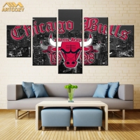 Artcozy 5Panel Canvas Printing Spray Painting Sports Poster Chicago Bulls Wall Ptures Home Decor Paint Waterproof