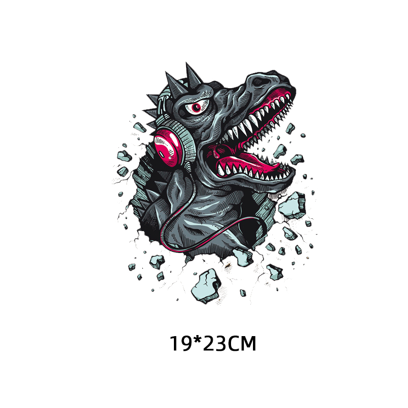 Iron on Music Dinosaur Patches for Clothing DIY T shirt Applique Heat Transfer Vinyl Washable Stickers on Clothes Thermal Press in Patches from Home Garden