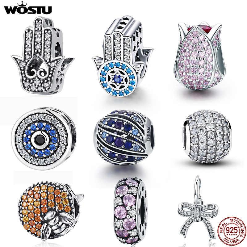 Wostu 100% real 925 prata esterlina deslumbrante zircão charme contas caber original diy pulseira pingentes colar de prata 925 jóias