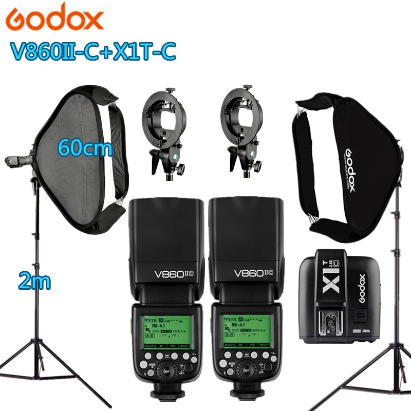 Godox Photo Studio Kit Photography Accessories 2 Godox V860II Flash 2 Light Stand 2 Softbox 1 X1T-C/N/S/F/O Trigger for Camera godox v860iic v860iin v860iis x1t c x1t n x1t s hss 1 8000s gn60 ttl flash speedlite 2 4g transmission godox softbox filter